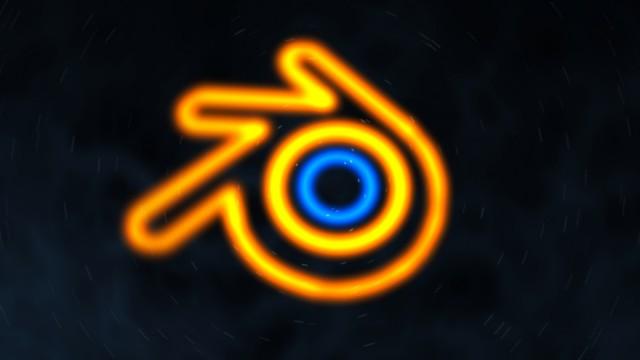 Blender logo en Neon