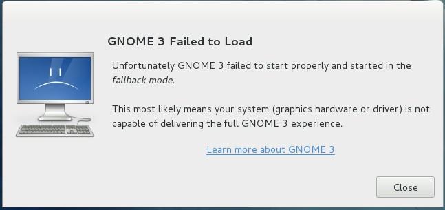 Falla de carga, Gnome 3.