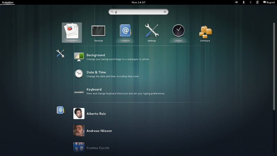 Gnome 3.8 Activities Overview